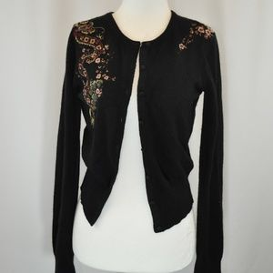 Lucky Brand Black Embroidered Cardigan - XS